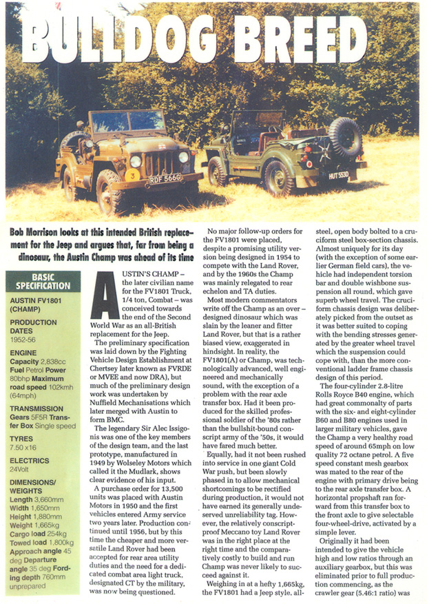 Austin Champ 6612, HUT 553D, 'Off Roader & 4x4 Owner' magazine March